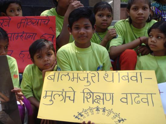 Suncity day care center children of HOPE join the rally organised by ARC, saying stop child labor and increase children's literacy rate.